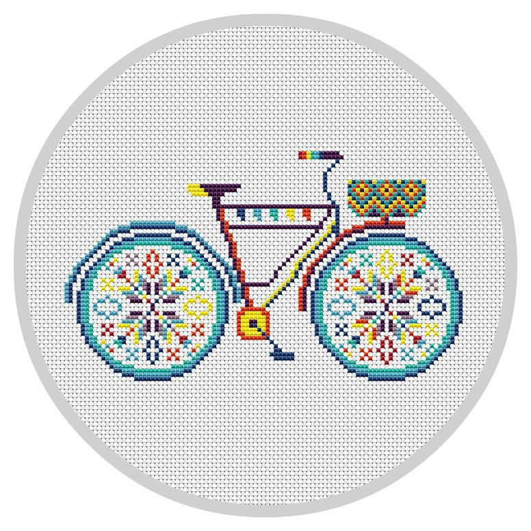 Colorful Bicycle Cross Stitch Pattern PDF Hoop art von Xrestyk
