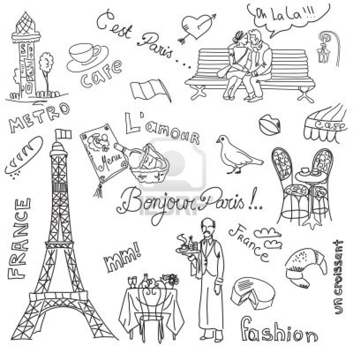 Stock Photo Artsy Paris Drawing Doodles Bullet Journal