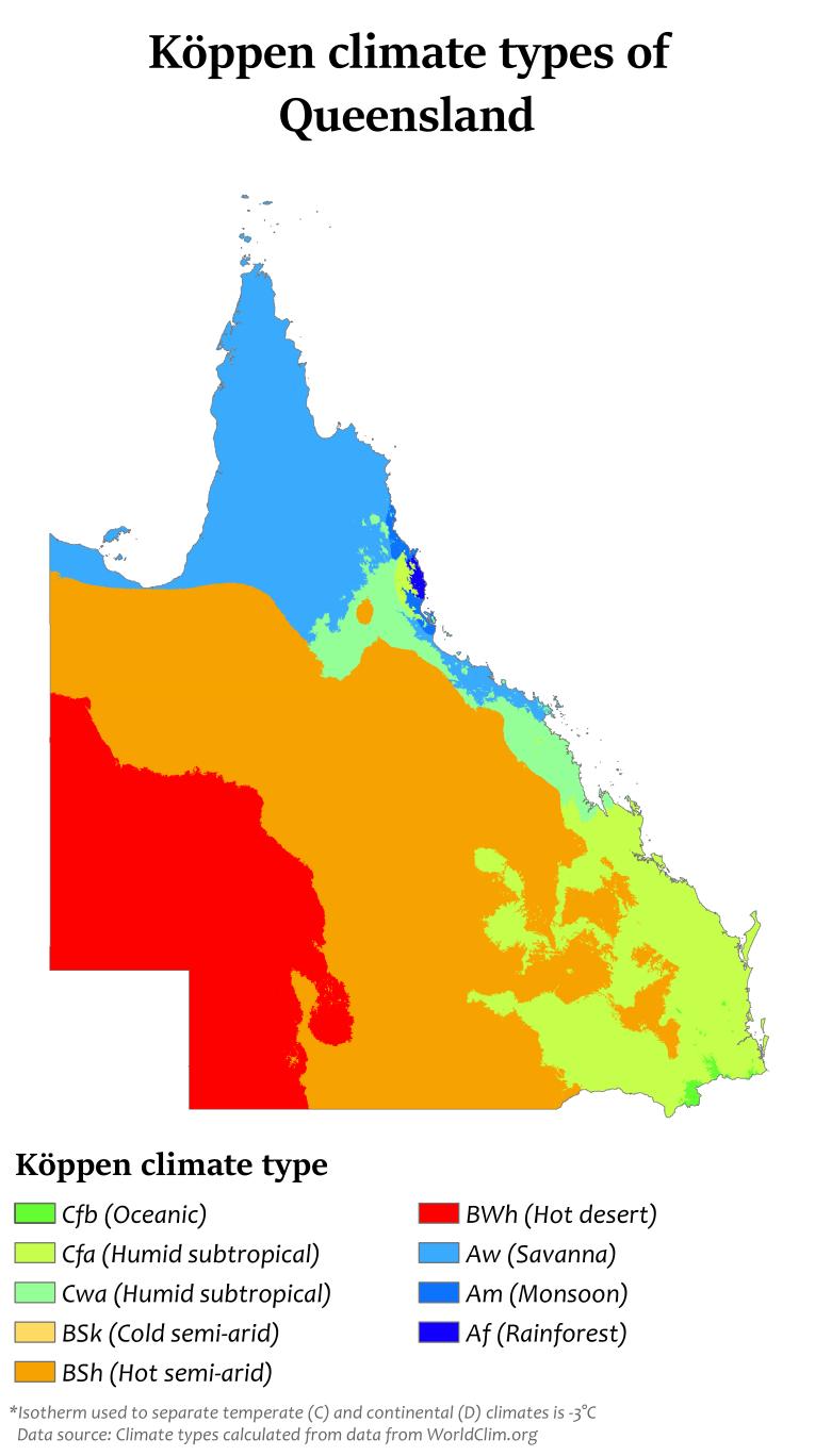 Koppen climate types of Queensland Maps of Australia