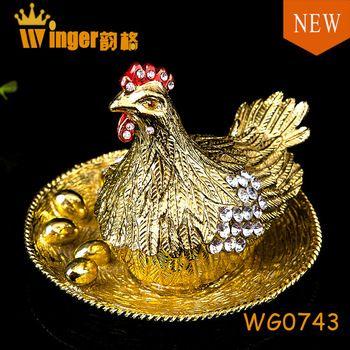 Newest Chicken Metal Crafts Souvenir Money Drawing Gifts Biddy Animal Trinket Box Pewter Casket Magnet Figurine Metal Crafts Trinket Boxes Casket