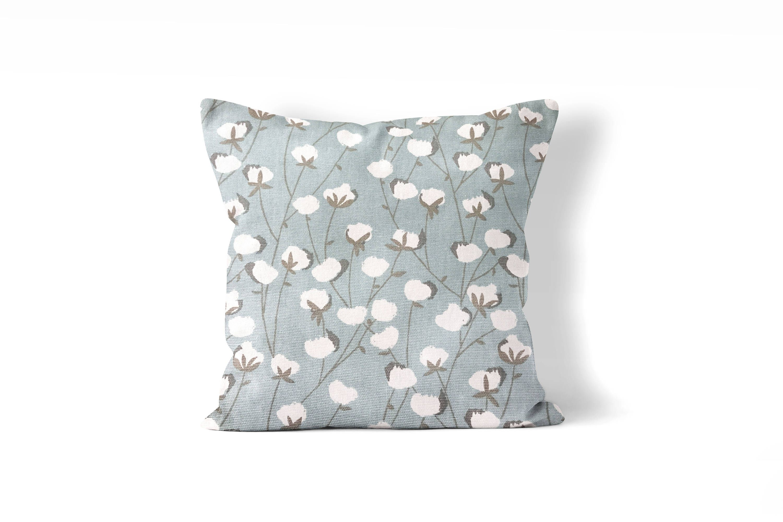 farmhouse pillow cover, cotton blossom