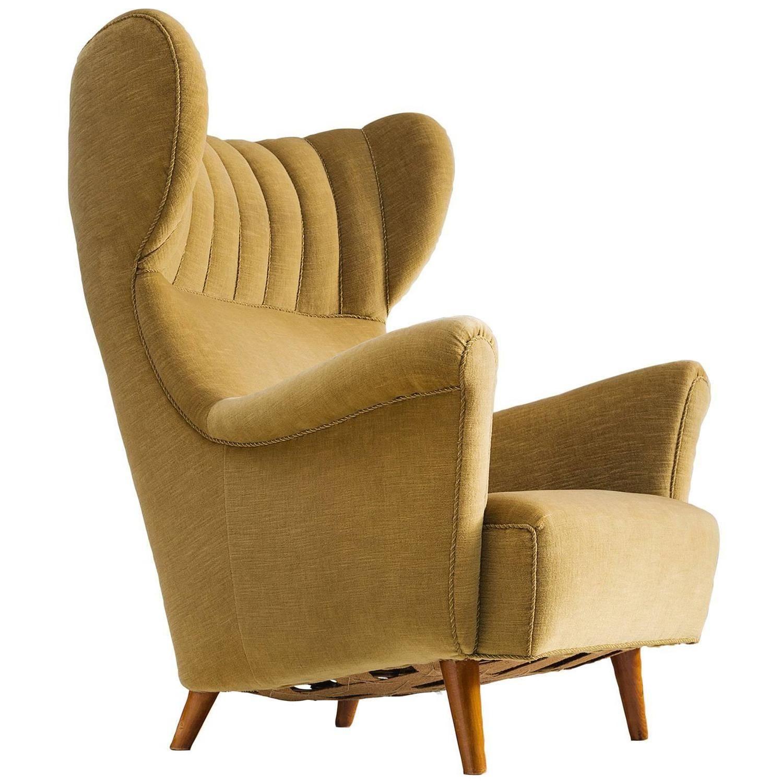 Danish Wingback Chair in Velvet and Teak 1940s