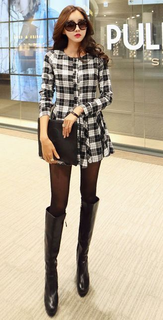 Cute Plaid Long Sleeve dress with Buttons 2