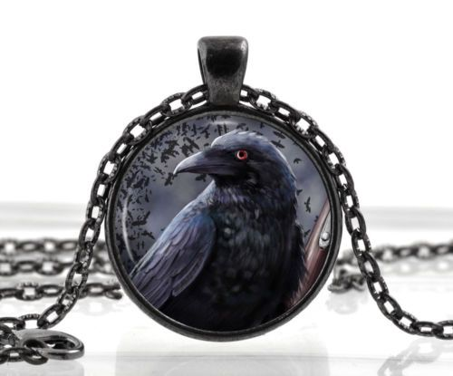 Gothic Mermaid with Skulls Black Dome glass Photo Art Chain Pendant Necklace