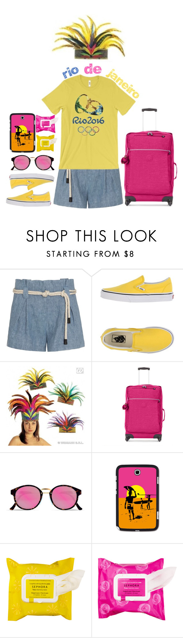 """""""Pack and Go: Rio"""" by meyli-meyli ❤ liked on Polyvore featuring L'Agence, Vans, Kipling, RetroSuperFuture, Samsung, Sephora Collection and rio"""