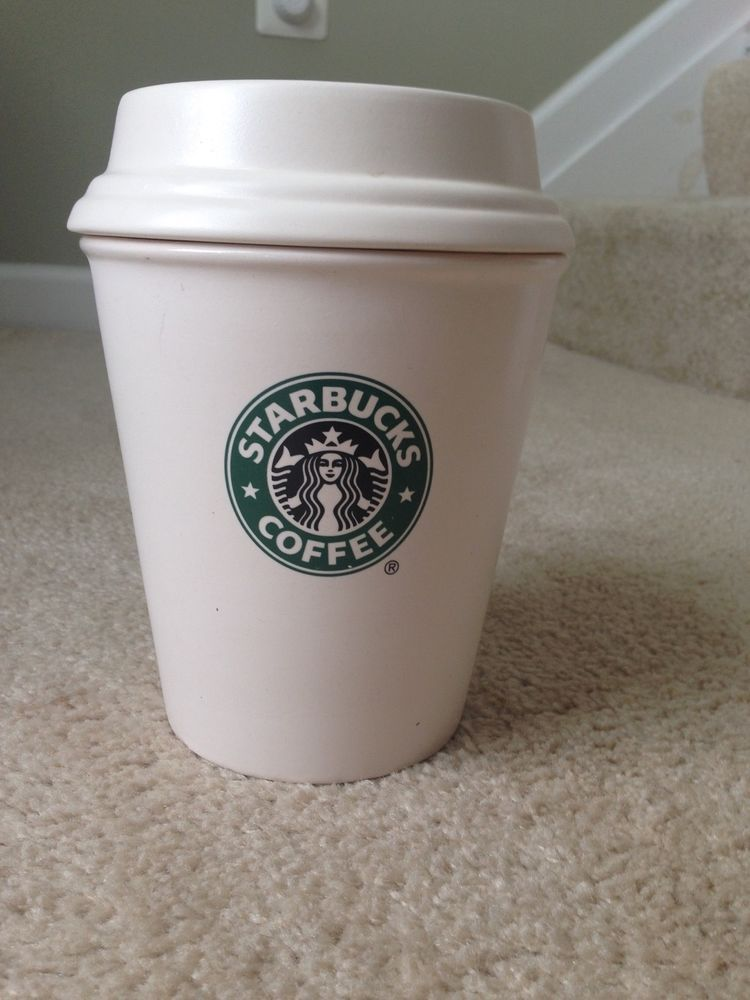 Starbucks White Green Ceramic Over Sized Coffee Cup Bean Canister Holder