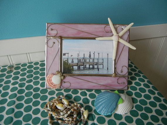 Items similar to Beautiful Beachy Wispy Pink Leaded Stained Glass Frame Embellished with Starfish, Shells Upcycled on Etsy