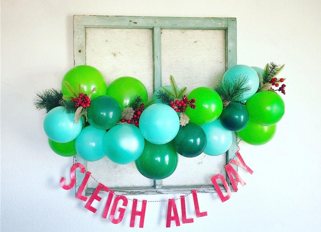 Christmas balloon garland, Christmas party ideas, Christmas