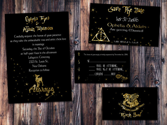 Gold Foil Harry Potter Always Wedding Invitation Save The Date