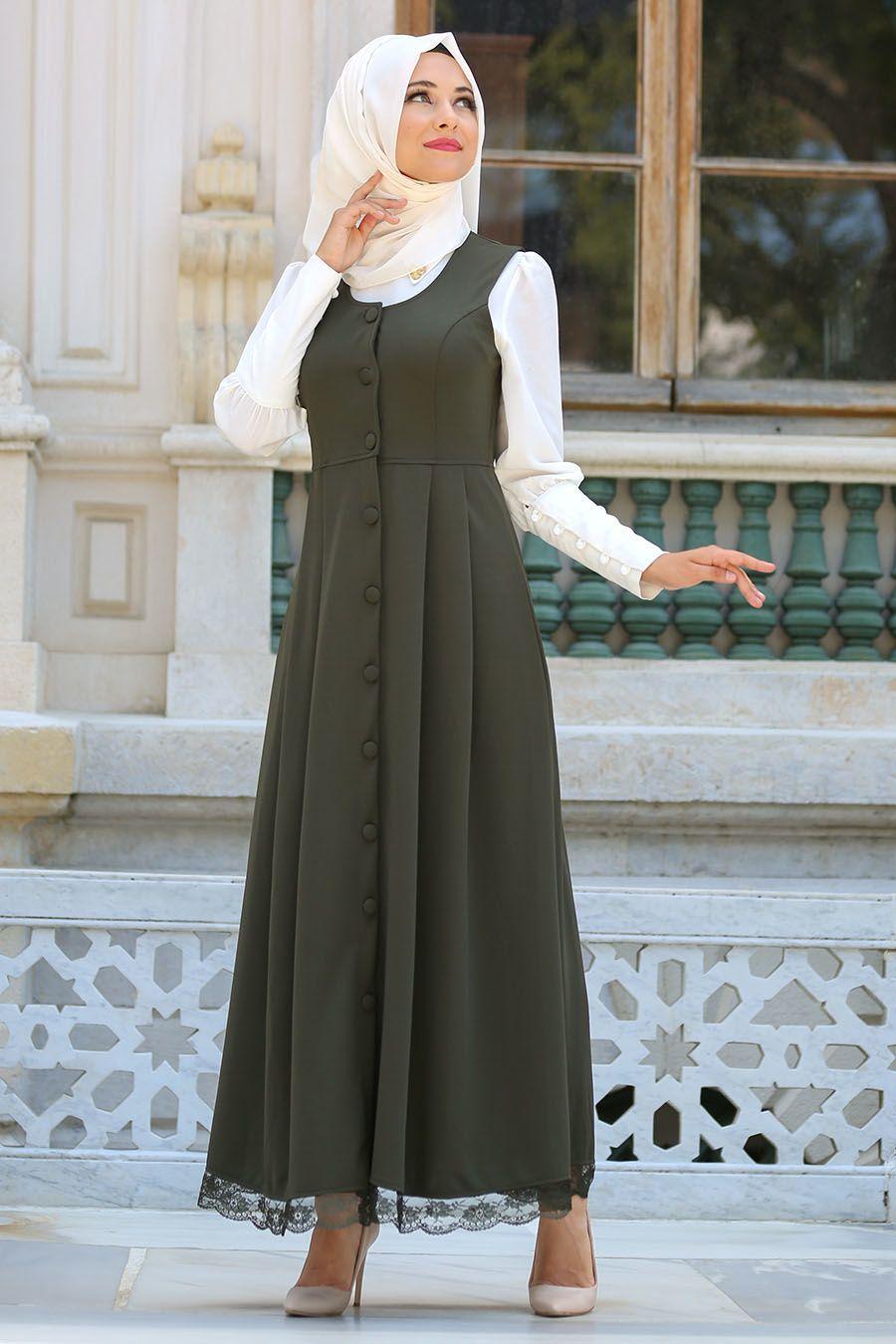 Etek Ucu Dantelli Tesettur Jile Elbise Modelleri Elbise Modelleri Elbise Moda Stilleri