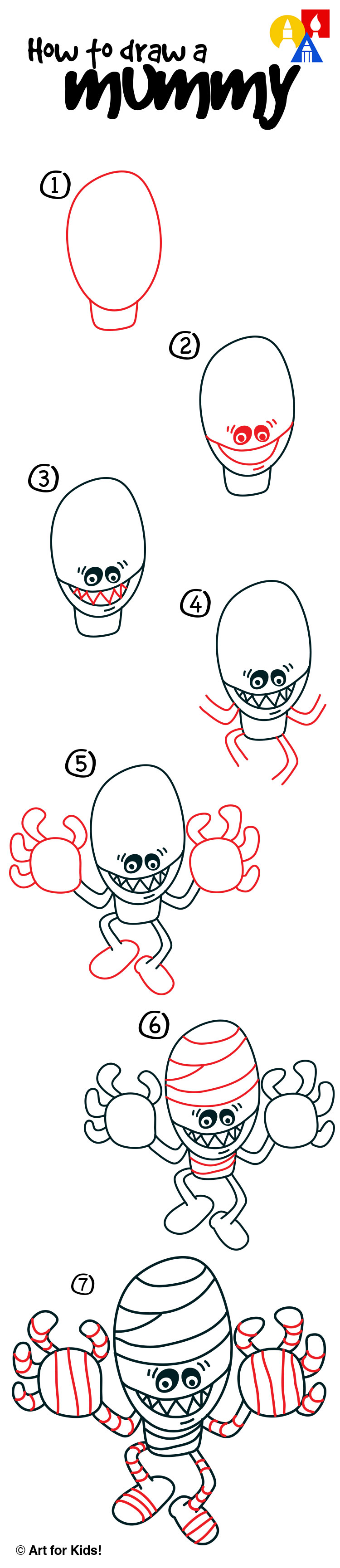 How To Draw A Mummy - Art For Kids Hub -