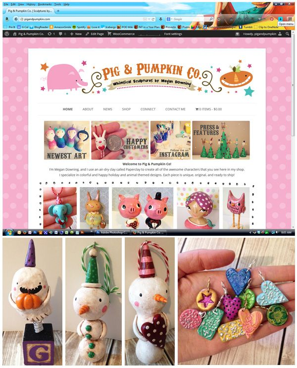 "Have you seen my brand new website and newest sculptures at http://www.PigAndPumpkin.com/ yet? I'm having a special sale this week to celebrate the website's grand opening- use the code ""woohoo15"" for 15% off your entire order The sale lasts thru Friday 25th (2014)."