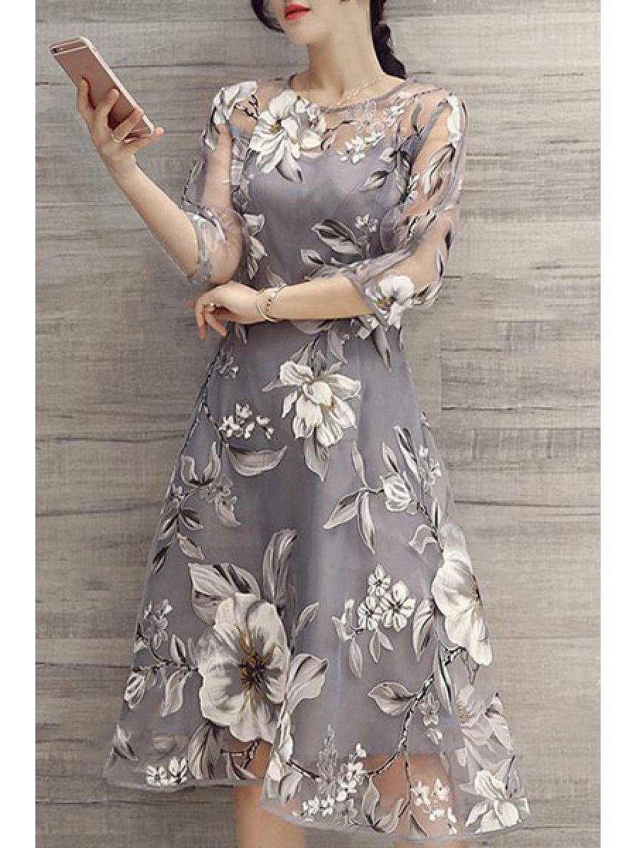 Floral printed seethrough midi skater dress gala pinterest