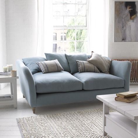 Erfly Sofa In Duck Egg Vintage Linen With Bobble Rug