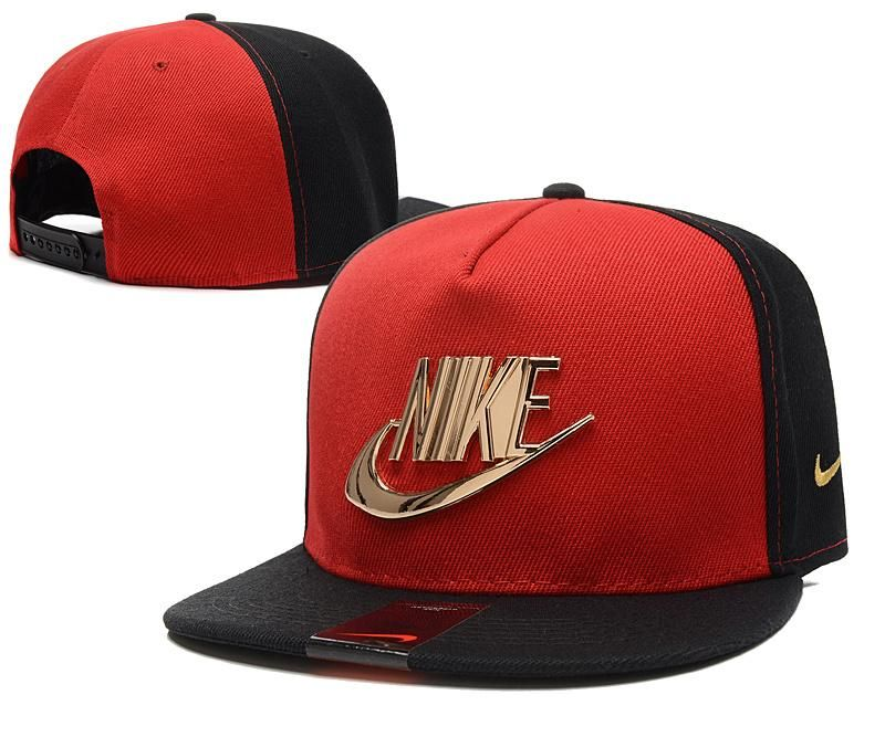 Mens Nike The Classic Nike Iron Gold Metal Logo A-Frame USA 2016 Best  Quality Fashion Leisure Snapback Cap - Black   Red 65ea0b85525