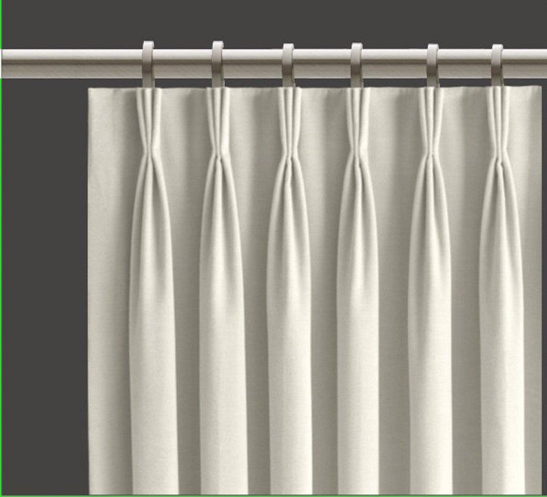 White Pinch Pleat Curtains Blackout Lined Set Of 2 Fan Pleat