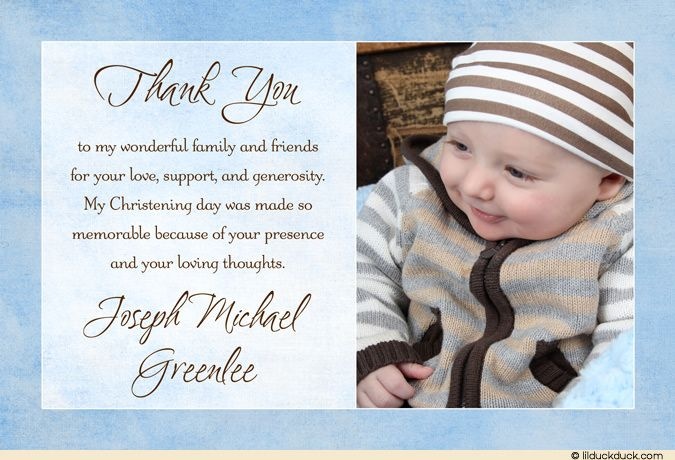 Blessed Baby Photo Thank You Card Boy Blue Christening Baptism