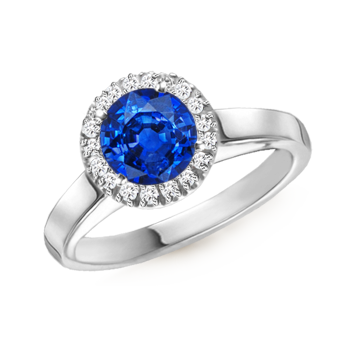 Angara Diamond Halo and Blue Sapphire Engagement Ring in Platinum 19IrlNi