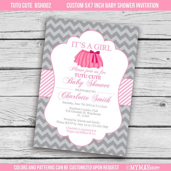 tutu cute baby shower invitation in pink hot pink and grey printable digital file