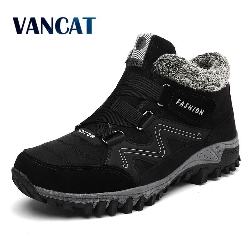 VANCAT Men Boots Winter With Fur Warm Snow Boots Men Winter Boots Work  Shoes Men Footwear Fashion Rubber Ankle Shoes 39-46 608e761c26ac