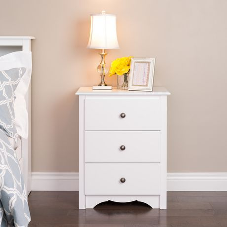Prepac Monterey 3 Drawer White Tall Nightstand White With Images