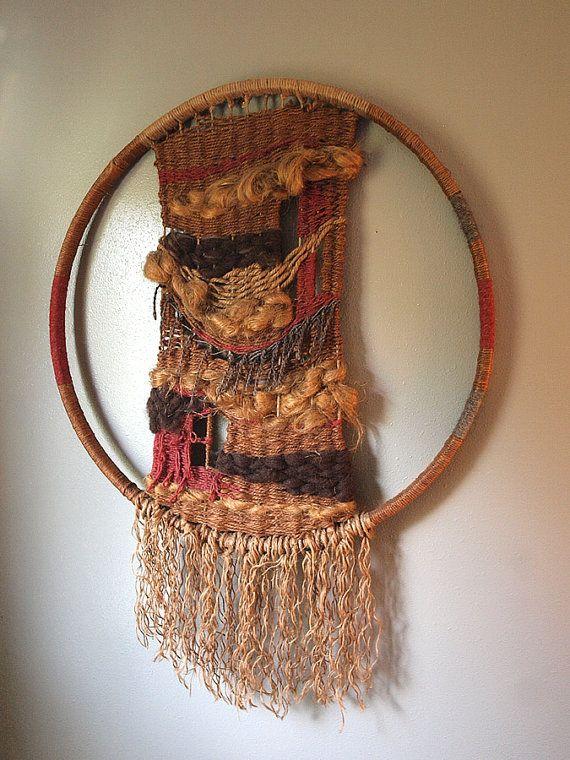 Incredible Large Vintage Bohemian Hoop Weaving Folk Art