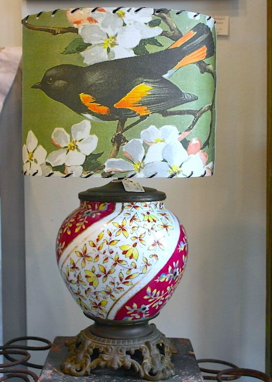 Vintage floral lamp base w bird shade by found images www vintage floral lamp base w bird shade by found images mockingbirdhandprints san antonio aloadofball Images