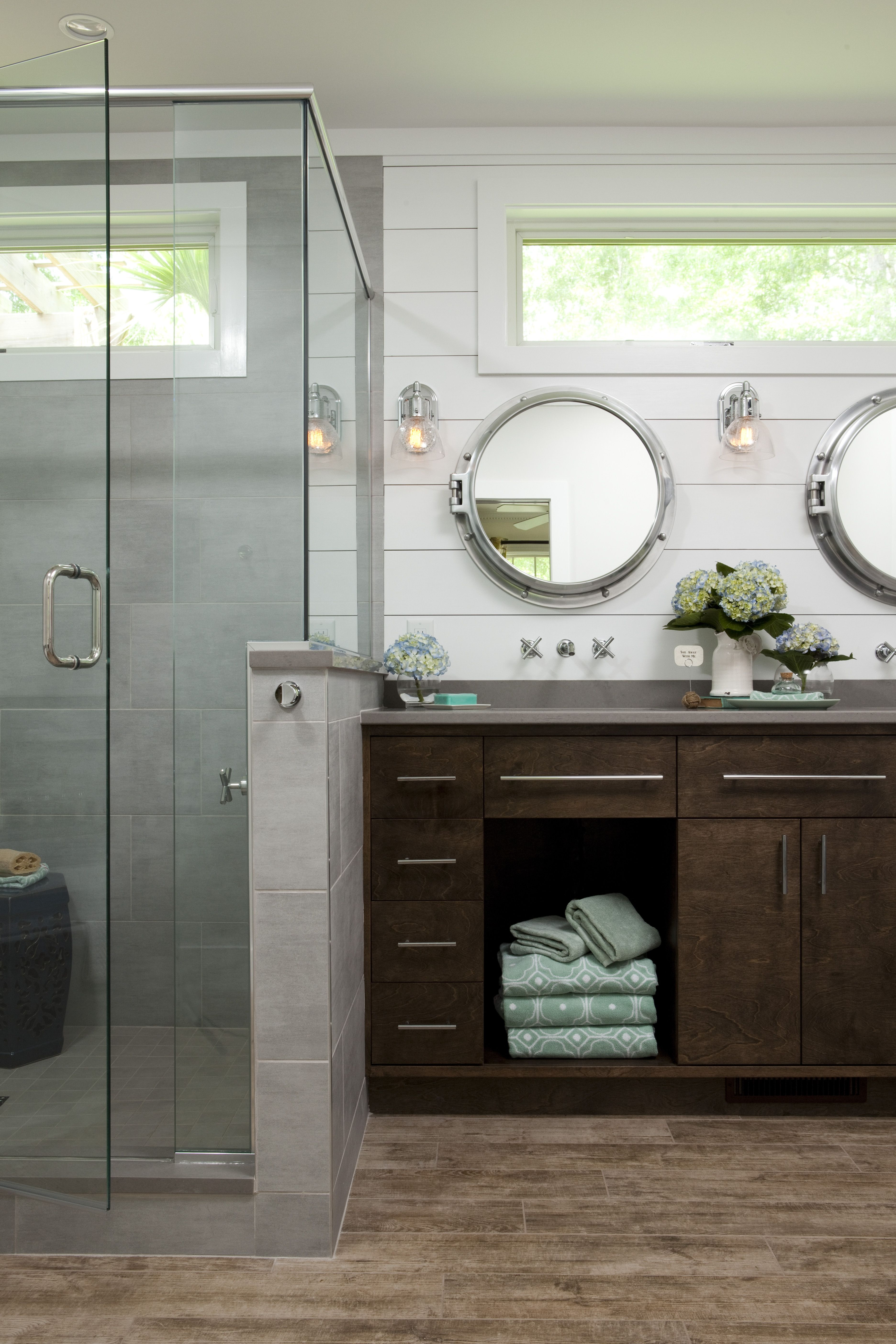 Nautical Master Bathroom Maximizes Its Tub Space Ideal Bathrooms
