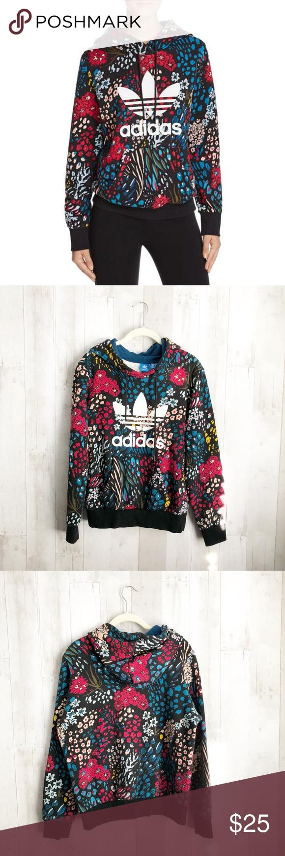 Adidas Originals Floral Trefoil Logo Sweatshirt Multi Colored Sweatshirt Hooded Sweatshirts Sweatshirts [ 1740 x 580 Pixel ]
