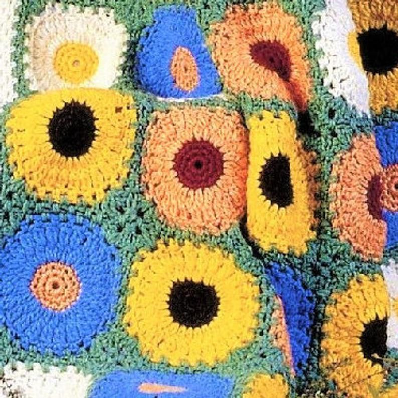 SUNNY Cable Flowers Afghan//Crochet Pattern INSTRUCTIONS ONLY