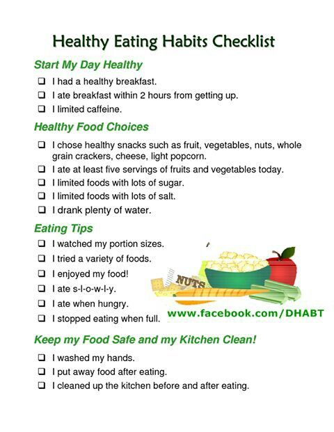 healthy eating tips healthy habits checklist health amp tips 30626