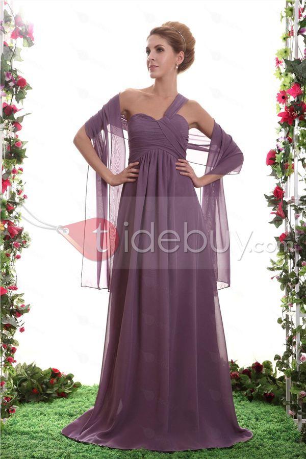 Hermoso Vestido de Dama de Honor Silueta Línea A Un Solo Hombro y ...