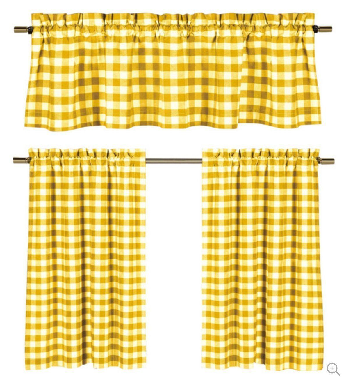 pc plaid country chic cotton blend kitchen curtain tier u valance
