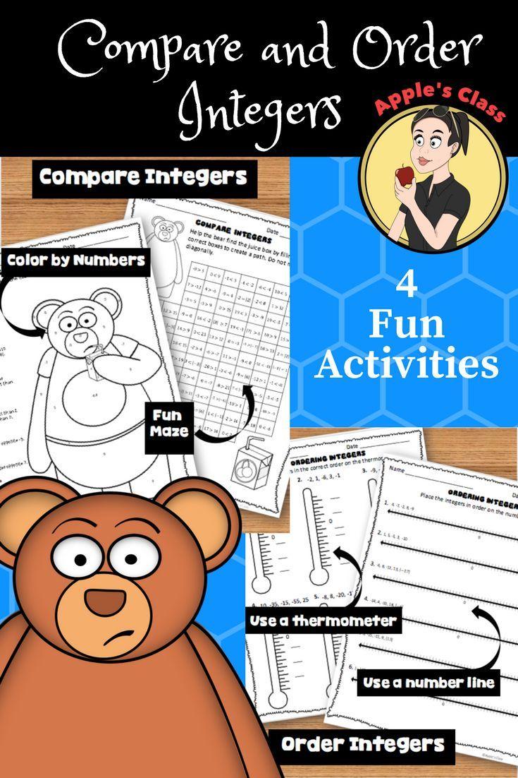 Compare And Order Integers Worksheets Tpt Favorites Pinterest