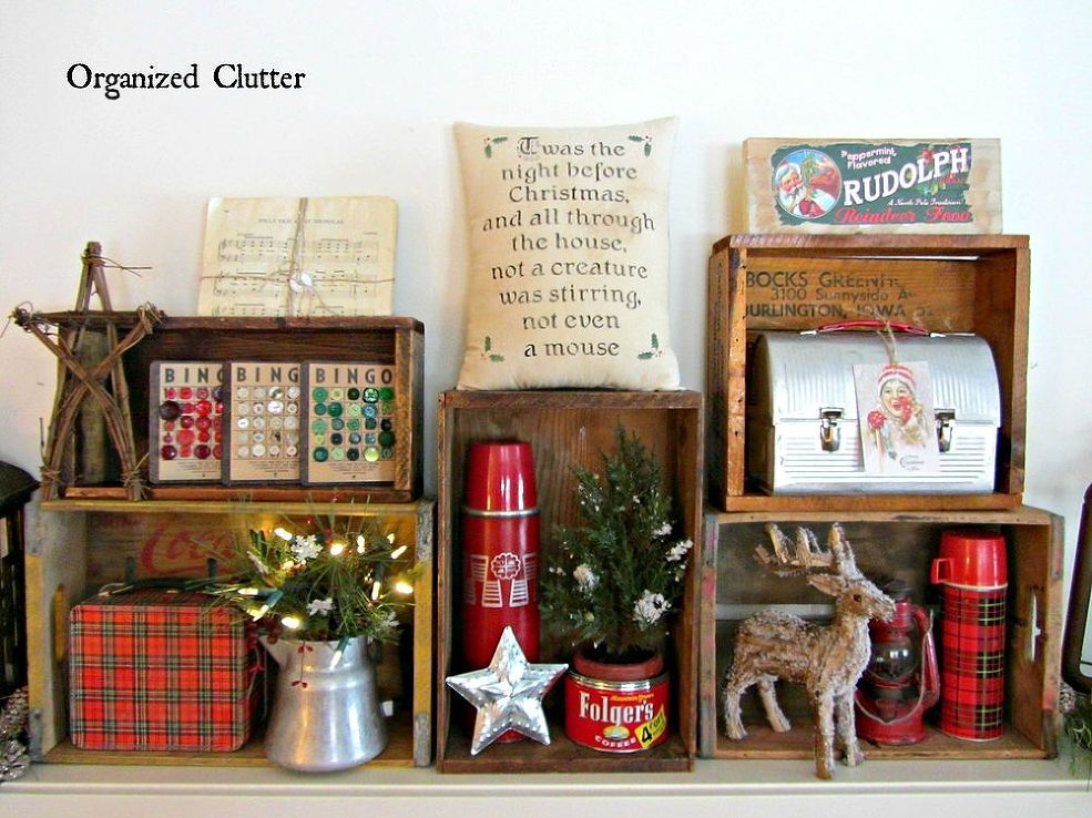 Organized Cluttered Rustic Crate Christmas Mantel Christmas