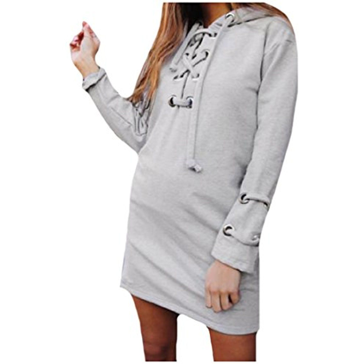 Tootless Women S Pullover Mid Length Lace Up Long Sleeve Hoodie Jacket See This Great Product Women Hoodie Outfit Long Sleeve Sweater Dress Hoodie Fashion [ 1500 x 1500 Pixel ]