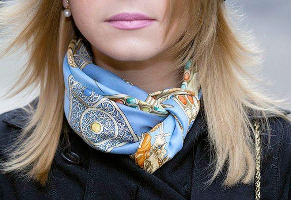 Sabine wearing Hermes Silk scarf style, Scarf styles, Scarf