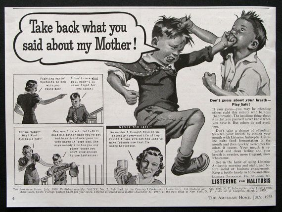 1938 Listerine Mouthwash Ad  Boys Fighting Fat by RetroReveries