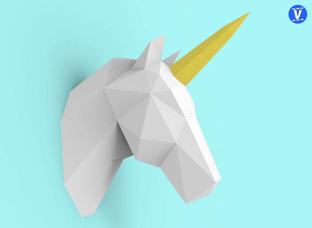 Unicorn head papercraft pdf pack d paper sculpture template with