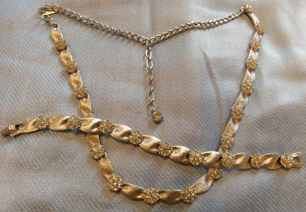 Vtg Crown Trifari Rhinestone Flower Silver Tone Ribbon Necklace Bracelet Trifari Vintage Jewelry Sets Ribbon Necklace Necklaces Bracelets