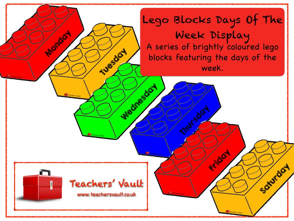 Lego Blocks Days Of The Week Display - EYFS, KS1, KS2 Teaching Resources,  Activities and Class Displays
