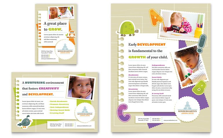 Kindergarten Flyer & Ad Template Design | Layout Ideas | Pinterest