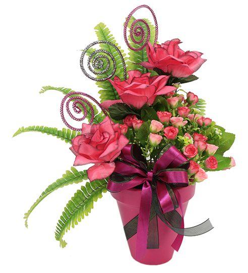centro de mesa para xv aos arreglo de flores color rosa
