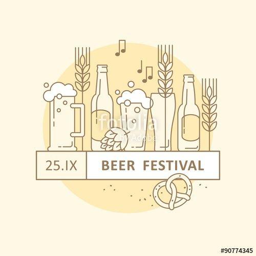 Vector Beer festival, beer party, beer menu Illustration for - beer menu