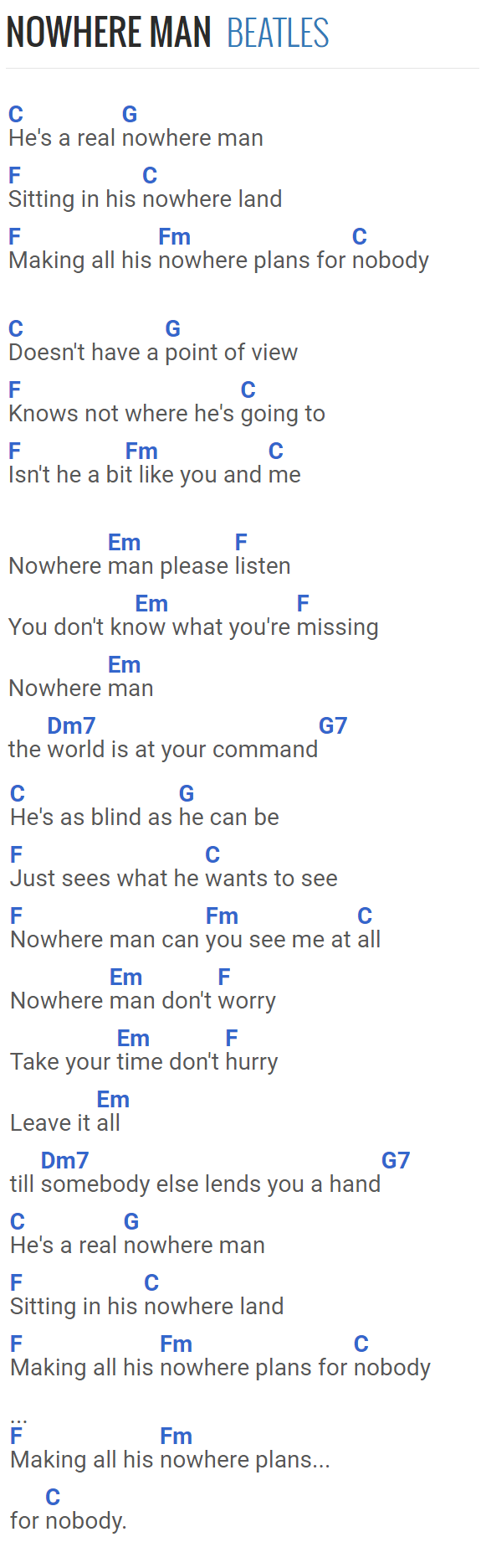 Nowhere Man   The Beatles …   Guitar chords for songs, Guitar ...