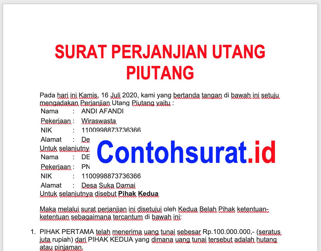 Contoh Surat Perjanjian Hutang Piutang Akta Kelahiran Surat Nama