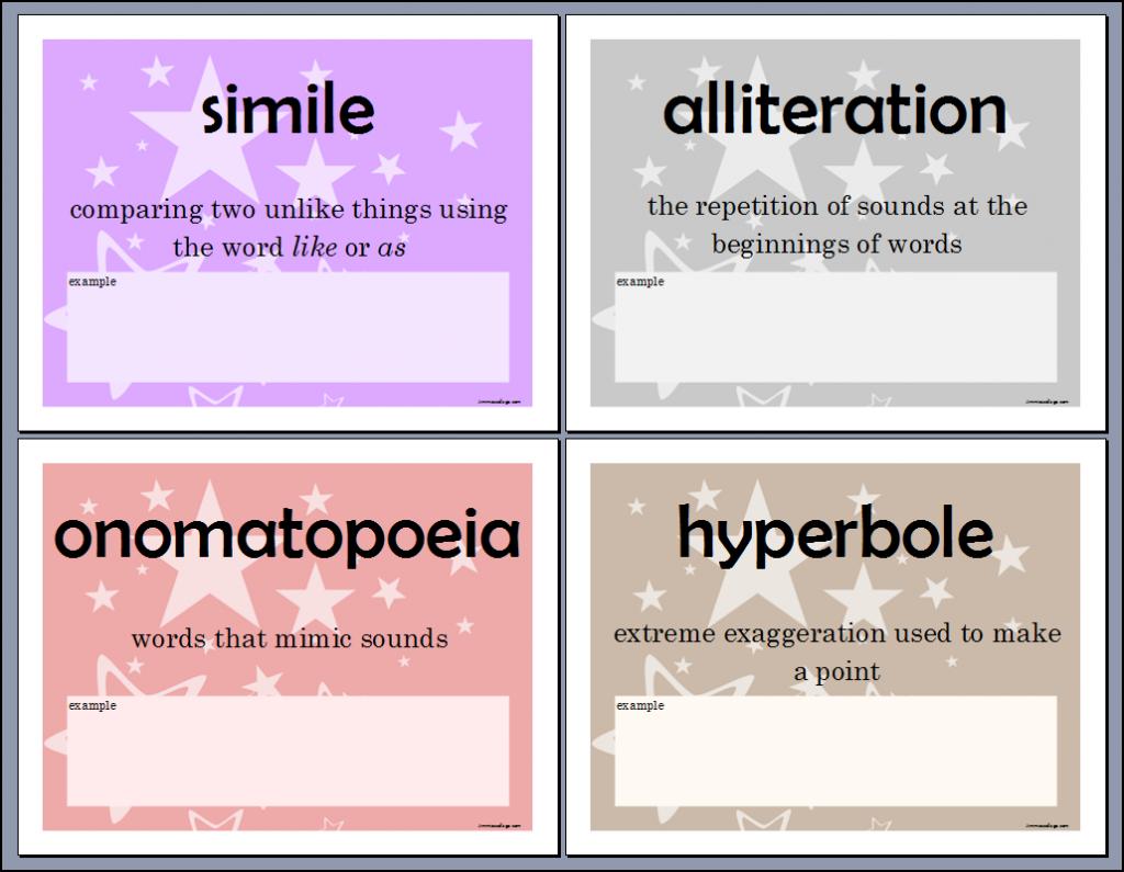 Poetic Devices Mini Poster Printables