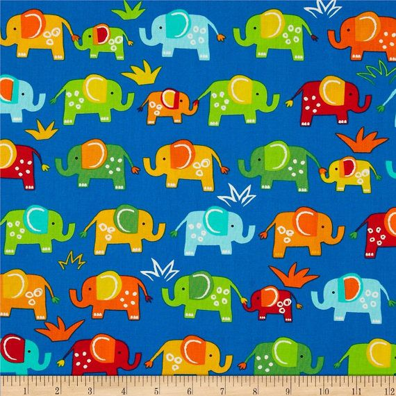 Jungle Creature Elephant Fabric Designed by Amy Schimler for Robert Kaufman. This cotton print is Perfect for Quilting/Clothing/Home Décor/accents/Pillows and many more applications
