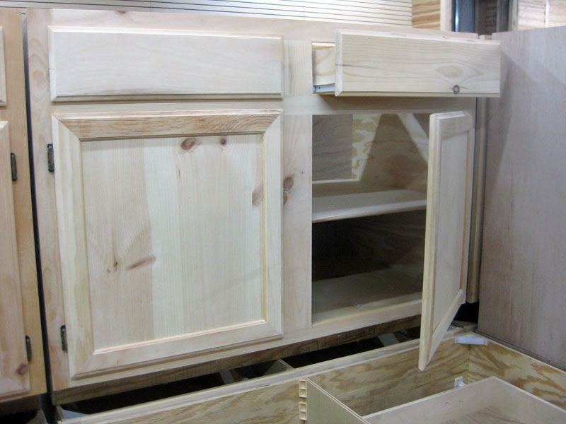 Furnitures Affordable Kitchen Cabinet Knotty Pine With White Color With Shelves White Wash