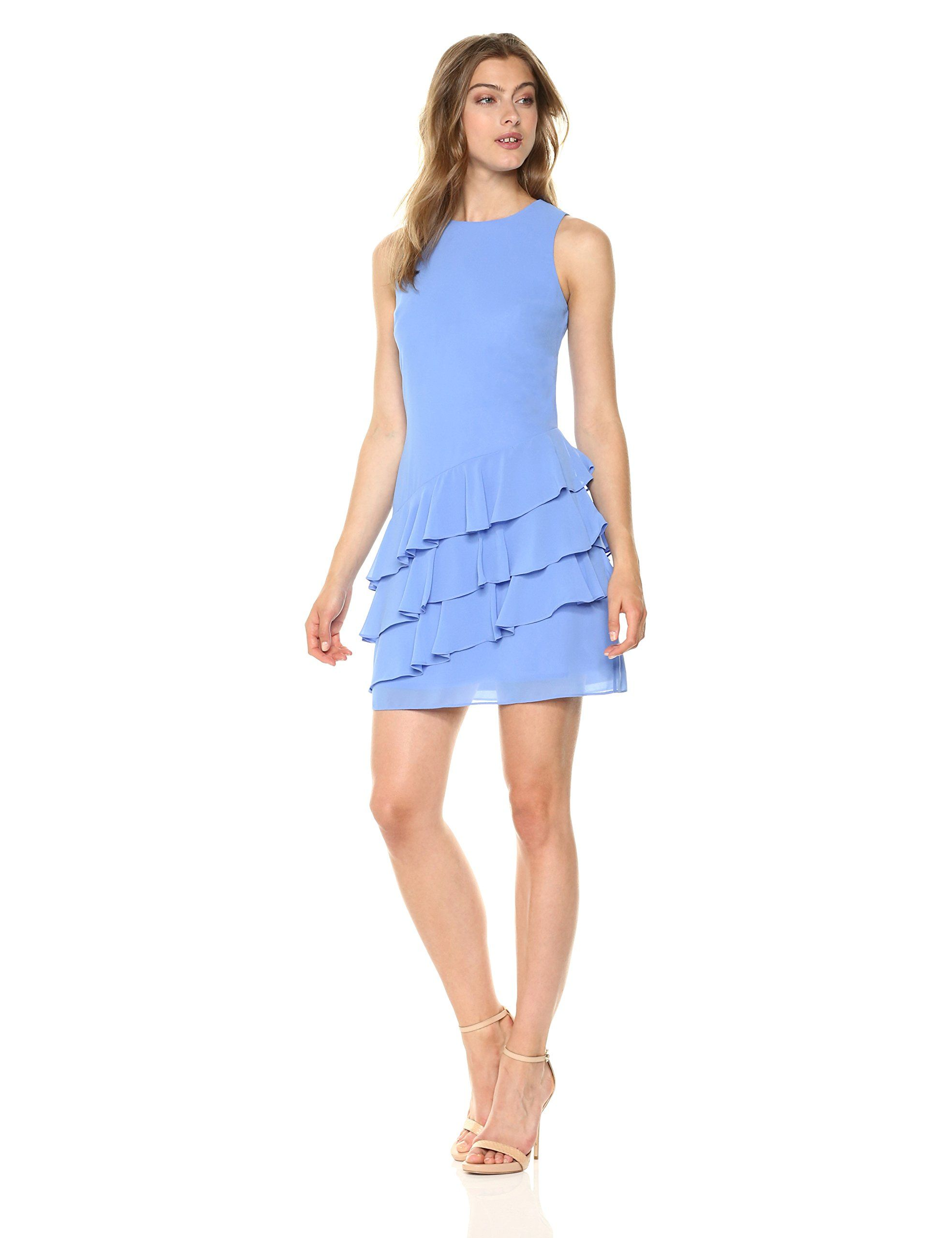 Vince Camuto Womens Chiffon Periwinkle Chiffon Ruffle Dresses Clothes [ 2560 x 1969 Pixel ]
